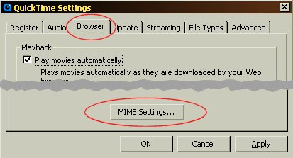 QuickTime MIME Settings