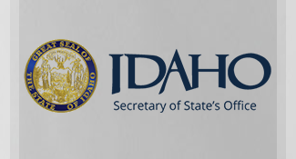 The Great Seal of the State of Idaho with the Idaho Secretary of State wordmark