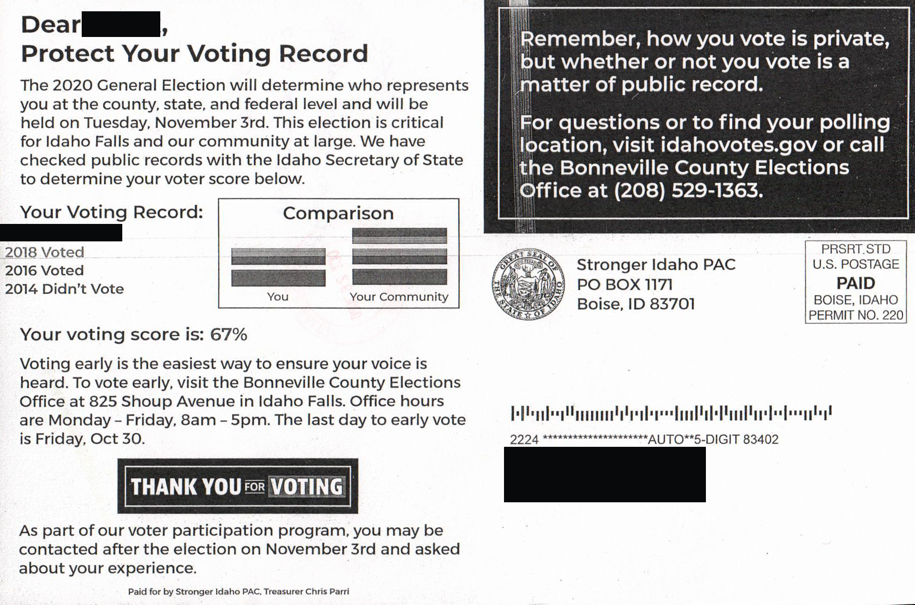 A misleading voter information mailing bearing the unauthorized use of the Idaho State Seal